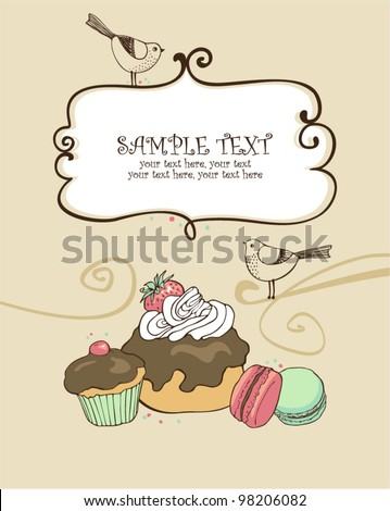 card with sweets - stock vector