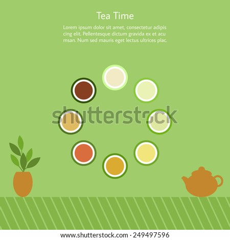 Card with teapot and cups of tea in Chinese style on the green background. Vector illustration