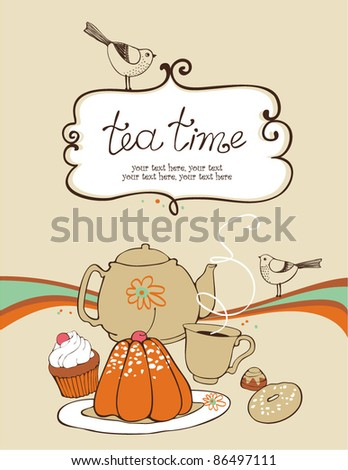 card with teapot, cups and sweets - stock vector