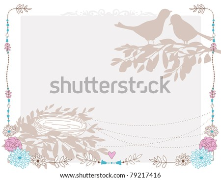 Card with the birds and nest. - stock vector