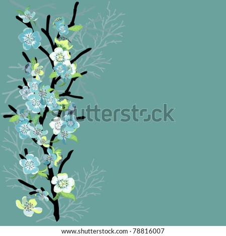 card with turquoise flowers on a branch - stock vector