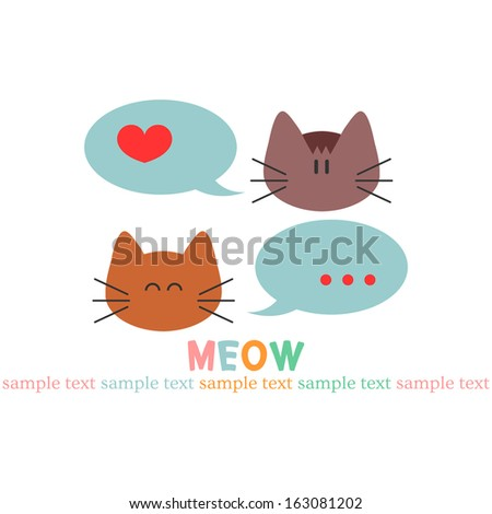 Card with two cute kitty faces - stock vector