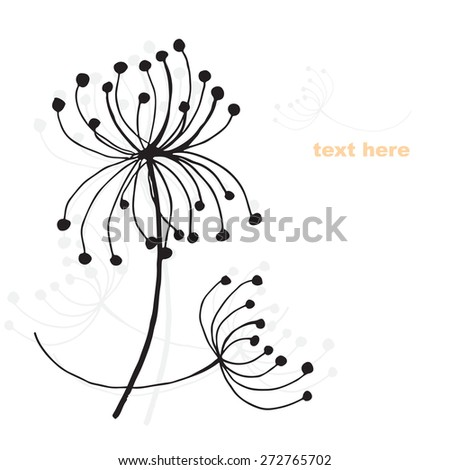 Card with vector flowers - stock vector