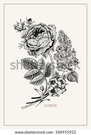Card with vintage black and white floral bouquet of Victorian roses and lilac on with a gold frame. Vector design element. Illustration, paper, ink, pen. - stock vector