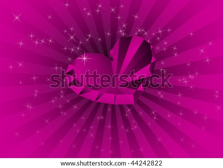 Card with violet diamond. Vector illustration - stock vector