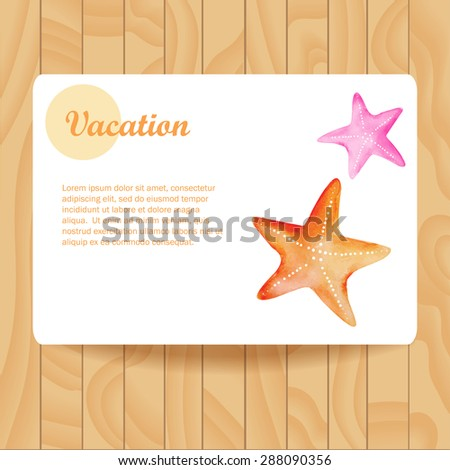 Card with watercolor starfish. Vector illustration. Postcard on wooden texture.