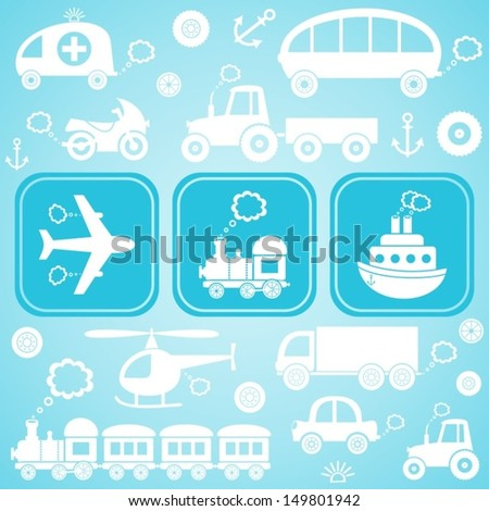 Card with white means of transport icons ob light blue background - stock vector