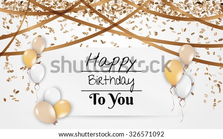 card with wish for birthday with balloons, falling confetti and present - stock vector
