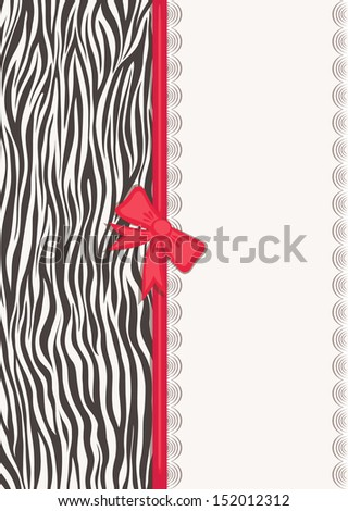 Card with zebra texture. Natural patterns. Fashionable safari style. Vector illustration.   - stock vector
