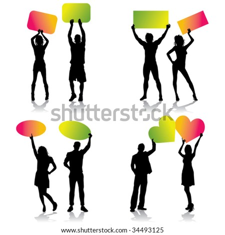 cardboard advertising - stock vector