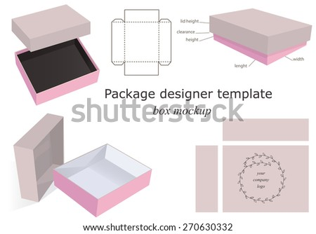 Cardboard and Pink Package Mockup Box, opened, closed, template, front and side layout. Isolated on White Background Ready For Your Design. Product package Vector EPS10 - stock vector