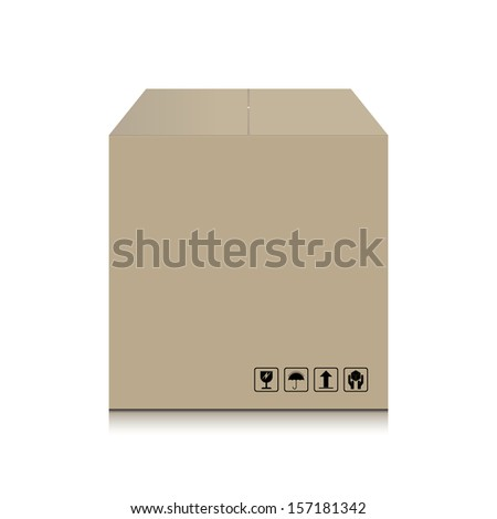 Cardboard box and fragile symbol - Vector illustration - stock vector