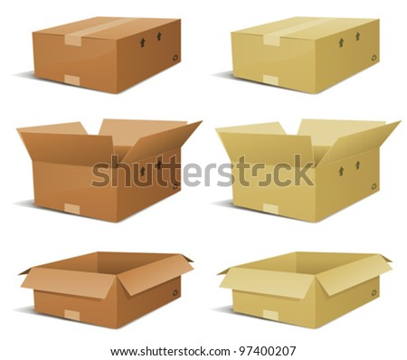Cardboard Box Delivery Set/ Illustration of a set of various cardboard box delivery, open and closed in two  colors - stock vector