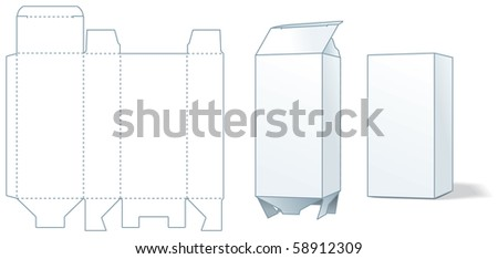 Cardboard box die-stamping - design, folding, ready. Vector illustration - stock vector