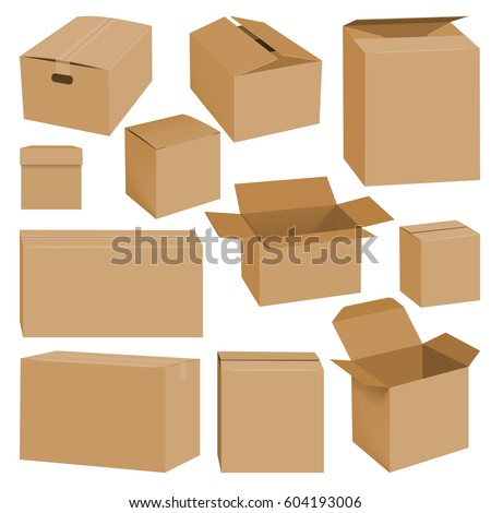 Cardboard box mockup set. Realistic illustration of 10 cardboard box mockups for web. Brown delivery set vector