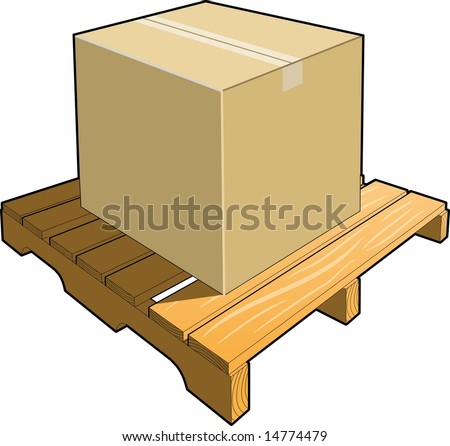 Cardboard box on wood pallet ready for shipment. - stock vector