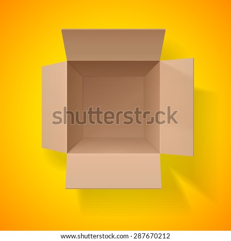 Cardboard box. Top view. Open box on a orange background. Detailed object. Vector Image. - stock vector