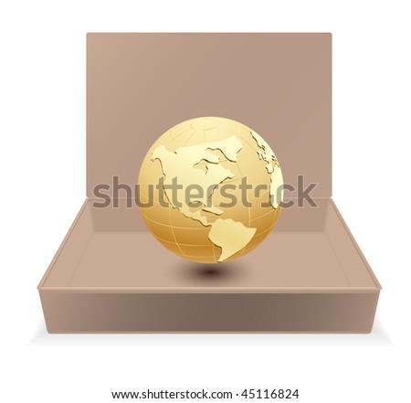 cardboard box with globe - stock vector