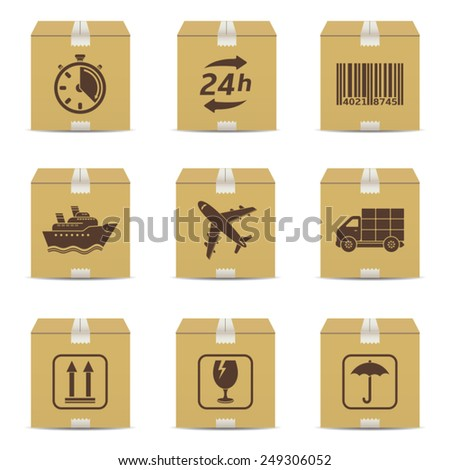 Cardboard box with logistic signs - stock vector
