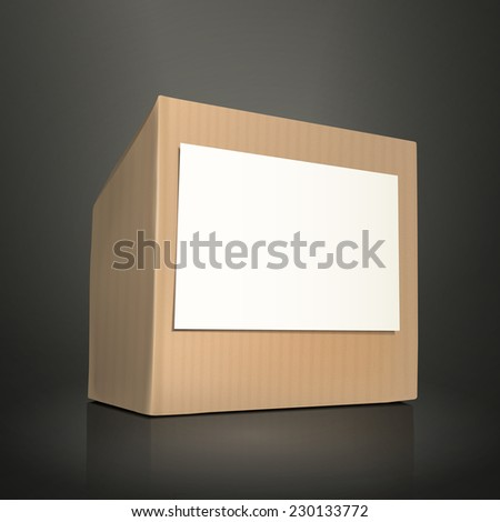 cardboard box with paper isolated on black background - stock vector
