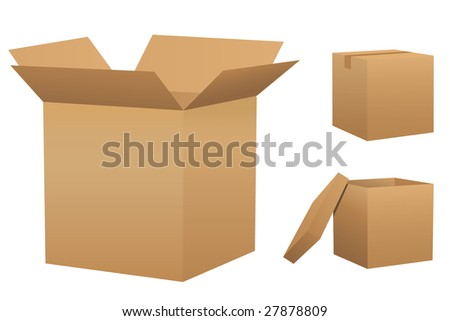 Cardboard boxes - stock vector