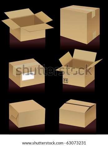 Cardboard Boxes - stock vector