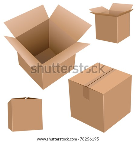 Cardboard boxes isolated on white realistic vector illustration. - stock vector