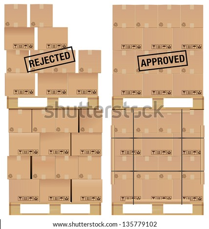 Cardboard boxes set on a wooden pallet, with examples of poor stacking and a good stack of boxes. - stock vector