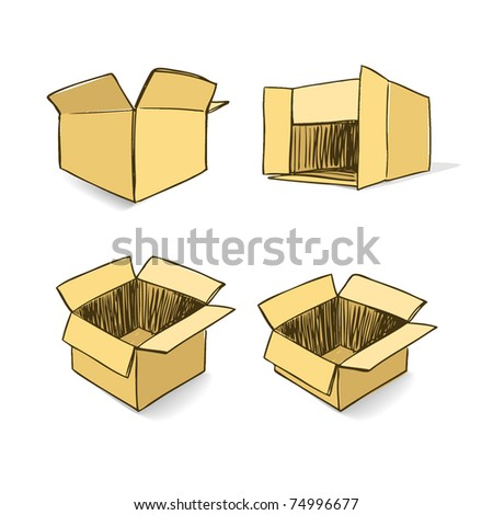 Cardboard hand-drawn vector set - stock vector