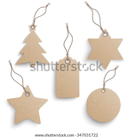 Cardboard hanging Christmas price stickers set on the white background.  Eps 10 vector file.