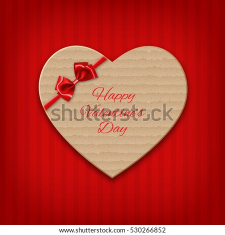 Cardboard heart with bow and ribbon. Valentine's day background. EPS10 vector