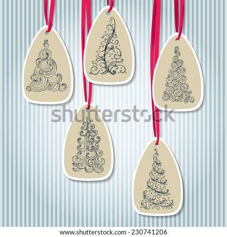 cardboard label with doodle new year Christmas tree - stock vector