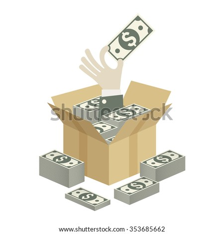 Cardboard open box and hand with money, vector illustration  - stock vector