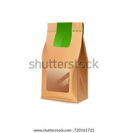 Cardboard Paper Bag With Transparent Window Sign Eco Vector Illustration Isolated On White Brown