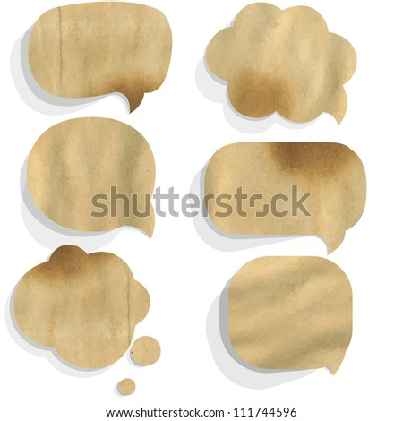 Cardboard Paper Speech Bubble, Isolated On White Background, Vector Illustration