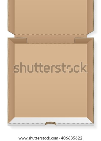 Cardboard pizza box empty on a white background - stock vector