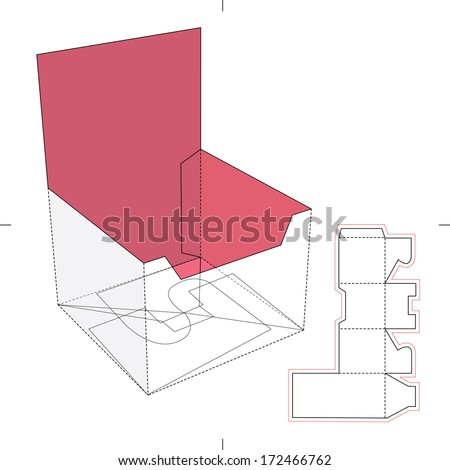 Cardboard Product Display Stand with Blueprint Layout - stock vector