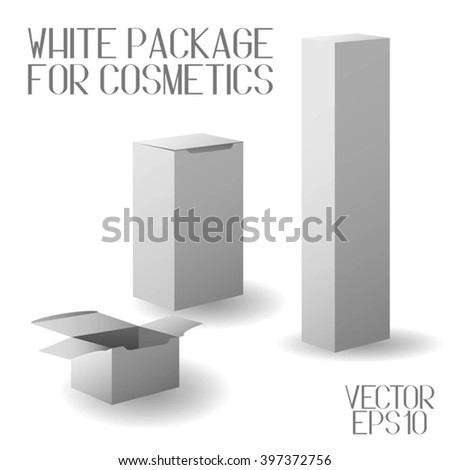 Cardboard Realistic Packing. Set of White Package Boxes for Cosmetics Isolated on White Background. Template For Your Design. Vector Illustration - stock vector