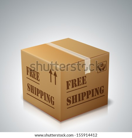 cardboard sign isolated with Free Shipping - stock vector