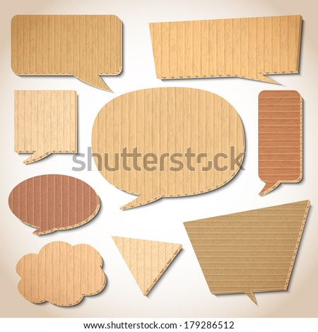 Cardboard speech bubbles design elements set isolated vector illustration