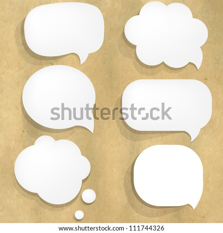 Cardboard Structure With Paper Speech Bubble, Vector Illustration - stock vector