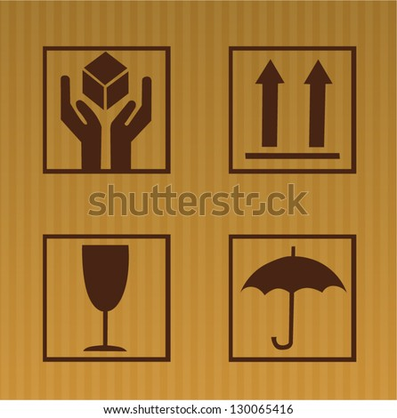 Cardboard symbols isolated on background