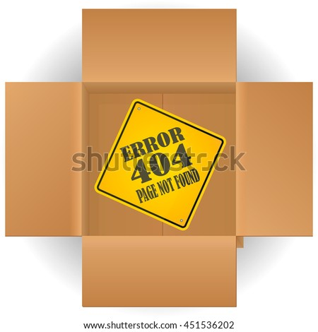 Cardboard Top View with the sign of the error 404 page not found. - stock vector