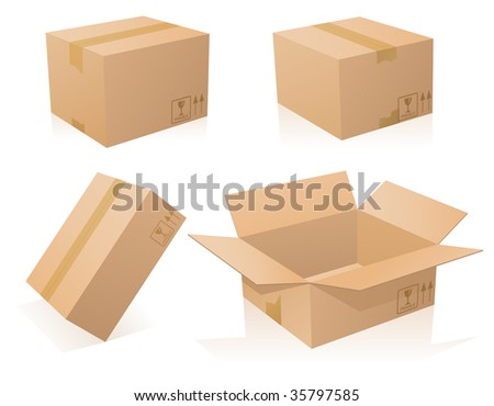 Cardboards boxes closed and opened - stock vector