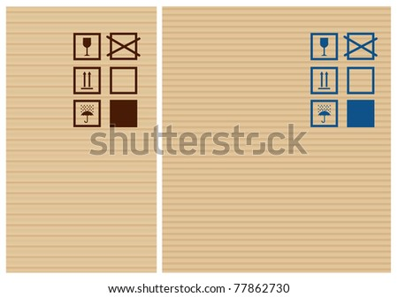 Cardbox vector texture and post signs - stock vector