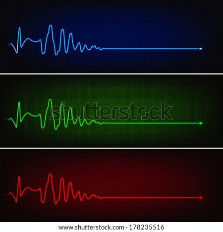 Cardiogram of heart stop and death in three neon colors - stock vector
