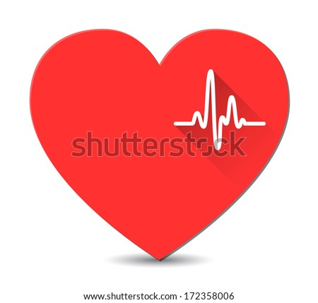Cardiogram on red heart in flat style with long shadows. Vector - stock vector