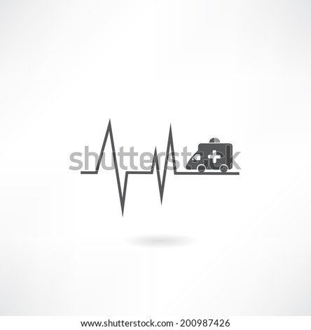 cardiogram with car icon - stock vector