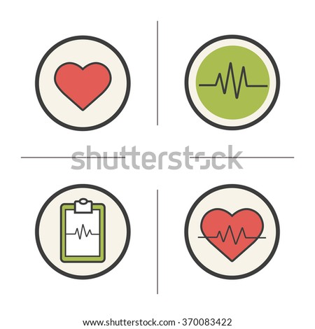 Cardiology color icons set. Heart shape, cardio monitor, ecg curve and heartbeat symbols. Health care and medical symbols. Logo concepts. Heart care infographic elements. Vector isolated illustrations - stock vector