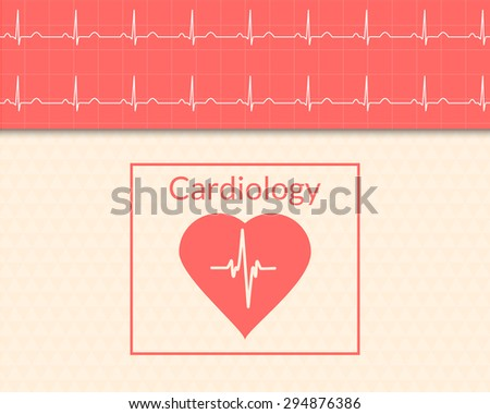 Cardiology concept. Medical background of the heart and ECG graph. - stock vector